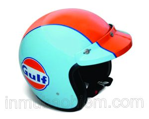 Nón bảo hiểm 3/4 đầu in hiệu Guft màu cam xanh
